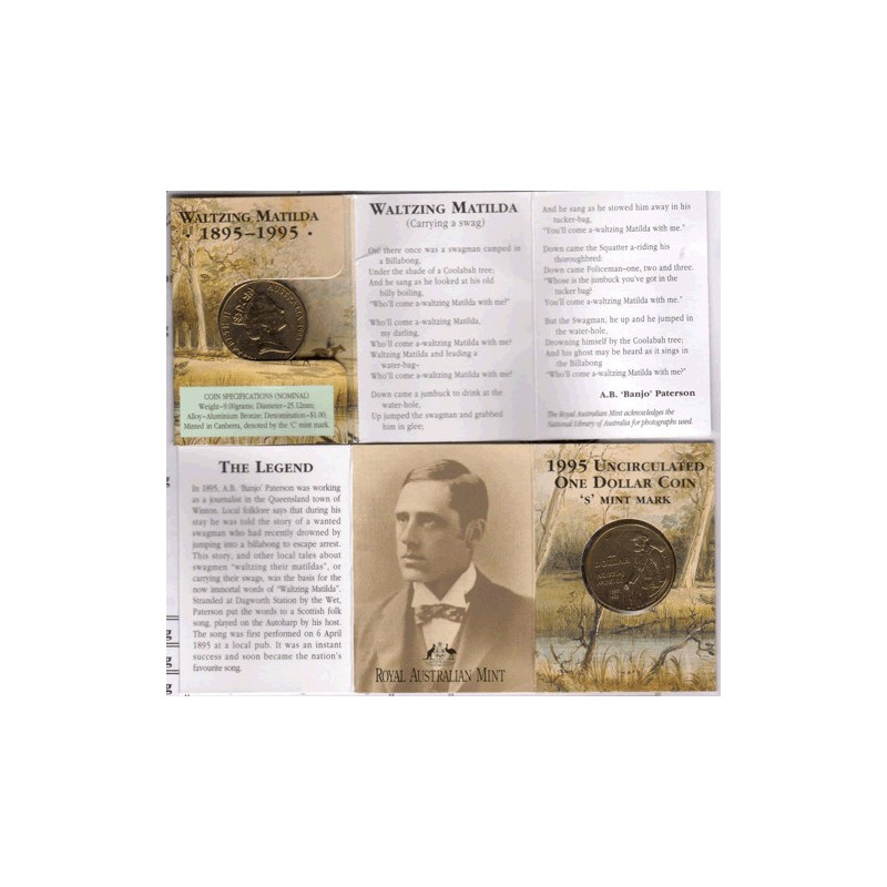 1995 UNC $1 WALTZING MATILDA COIN /'C/' MINT MARK