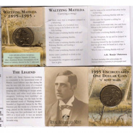 1995 $1 Waltzing Matilda C Mintmark Unc Coin in RAM Card