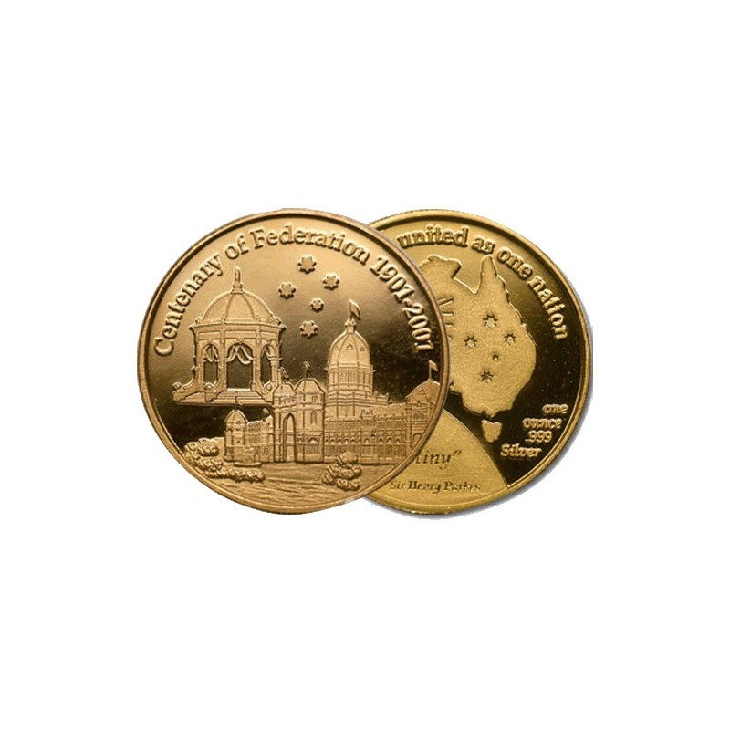 1901 - 2001 Centenary of Federation Gold Plated Medal