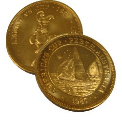 1987 America's Cup Gold Plated Medallion Perth Australia Unc