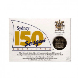 1992 Sydney Town Hall 24 Carat Gold Plated Sesqui Medal & Postcard