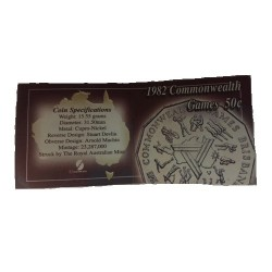 1982 50c Commonwealth Games XIIth Uncirculated Coin in Pack