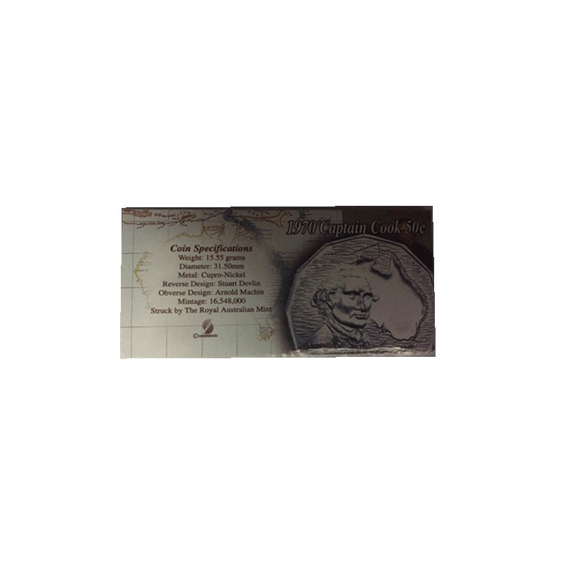 1970 50c Captain James Cook Bicentenary  Uncirculated Coin in Pack