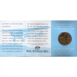 1997 $1 Sir Charles Kingsford Smith S Mintmark Unc Coin in RAM Card