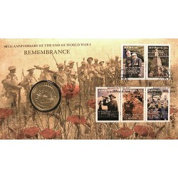 2008 $1 90th Anniversary of WWI Coin & Stamp Cover pNC