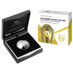2015 $5 ICC Cricket World Cup Fine Silver Proof Domed Coin
