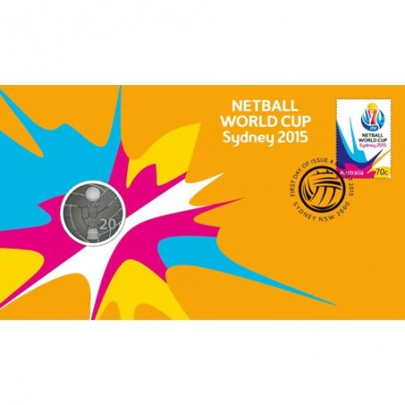 2015 20c Netball World Cup Sydney Coin & Stamp Cover PNC