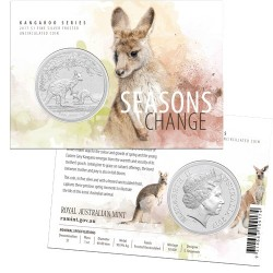 2017 $1 Kangaroo Series - Seasons Change 1oz Silver Frosted Coin in Card