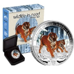 2012 $1 Wildlife in Need Series - Siberian Tiger 1oz Silver Proof Coin