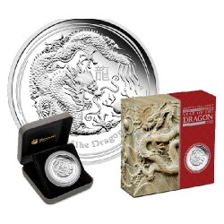 2012 $8 Australian Lunar Year of the Dragon 5oz Silver Proof Coin
