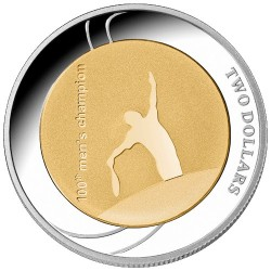 2012 $2 Australian Open 100th Men's Champion Selectively Gold Plated Silver Proof Coin