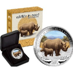 2012 $1 Wildlife in Need Series - Black Rhinoceros 1oz Silver Proof Coin