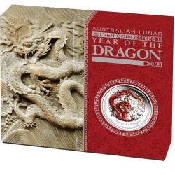 2012 50c Australian Lunar Year of the Dragon 1/2oz Coloured Silver Proof Coin