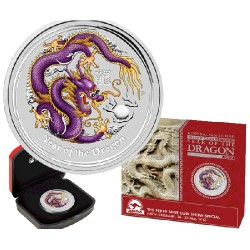 2012 $1 ANDA Brisbane Year of the Dragon Purple Dragon 1oz Coloured Silver Specimen Coin