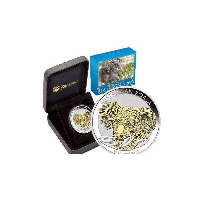 2014 1 Australian Koala Gilded 1oz Silver Coin Coin City