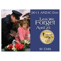 2011 $1 ANZAC Day RAAF Unc Coin in Card