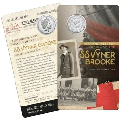 2017 20c 75th Anniversary of the Sinking of the SS Vyner Brooke Unc Coin in Card