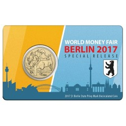 2017 $1 WMF Berlin Bear Pictorial Privy Mark Unc Coin in Card