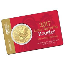 2017 50c WMF Gold Plated Year of the Rooster Tetra-Decagon Coin in Card