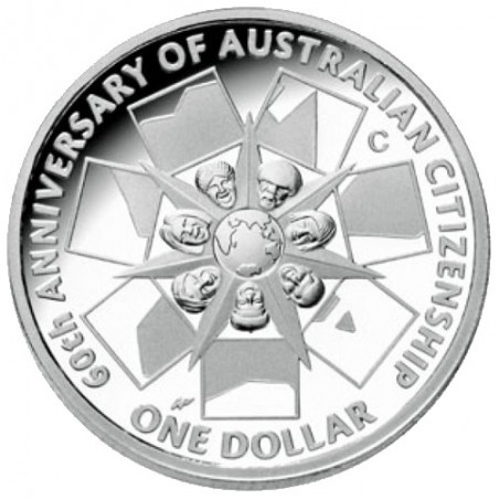 2009 $1 60 Years of Australian Citizenship Fine Silver Proof Coin