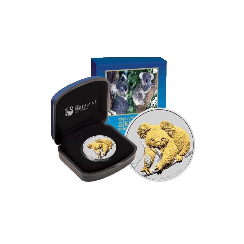 2010 1 Australian Koala Gilded 1oz Silver Coin Coin City