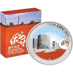 2010 $1 Shanghai World Expo Australian Pavillion  1oz Silver Proof Coin