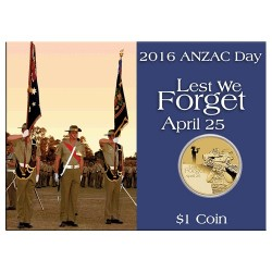 2016 $1 ANZAC Day Royal Armed Corps Unc Coin in Card