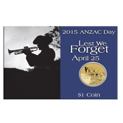 2015 $1 ANZAC Day Australian Defence Forces Unc Coin in Card