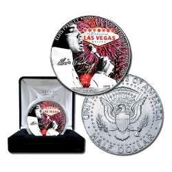 2005 50c USA Viva Las Vegas Elvis JFK Coloured BU Coin in Case