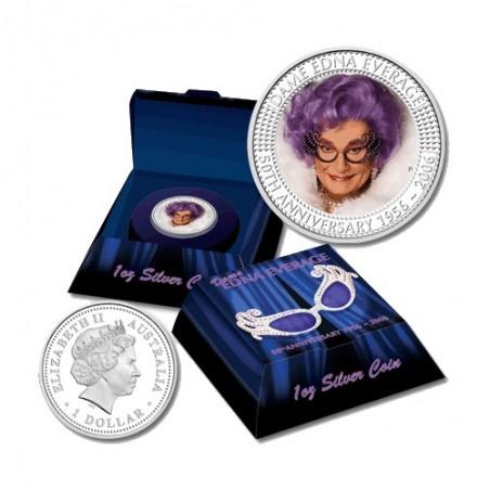 2006 $1 Dame Edna Everage 50th Anniversary 1956 - 2006 1oz Coloured Silver Proof Coin