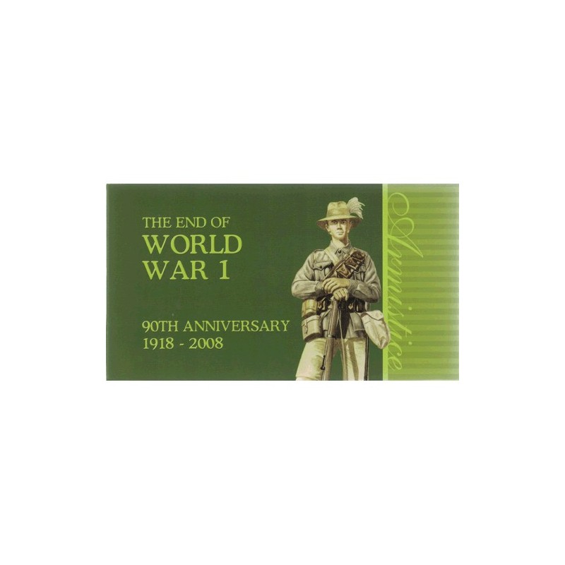 2008 $1 The End of World War II 90th Anniversary 1918 - 2008 2 Coin Silver Set