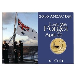 2010 $1 ANZAC Day Royal Australian Navy Unc Coin in Card