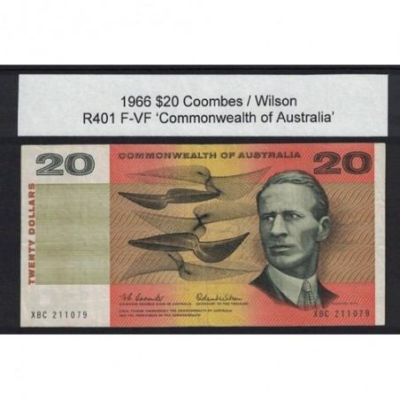 1966 $20 R401 Coombs / Wilson General Prefix F-VF Australian Banknote