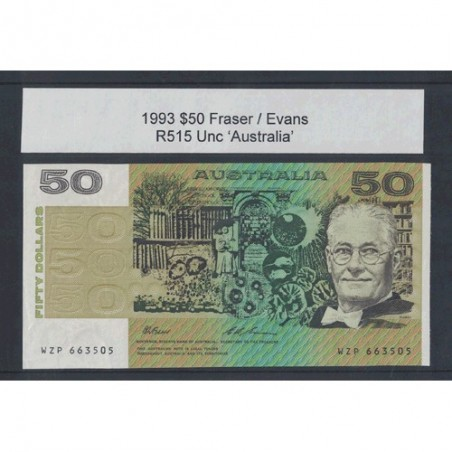 1993 $50 R515 Fraser / Evans General Prefix Uncirculated Australian Banknote