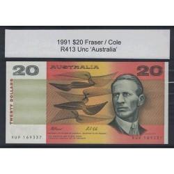 1991 $20 R413 Fraser / Cole General Prefix Uncirculated Australian Banknote