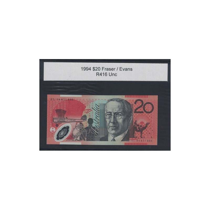 1994 $20 R416 Fraser / Evans General Prefix Uncirculated Polymer Australian Banknote