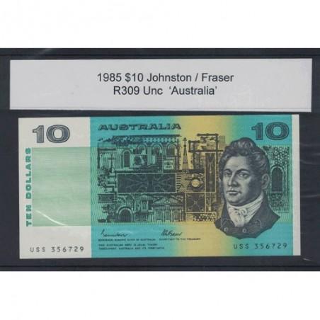 1985 $10 R309 Johnson /  Fraser General Prefix Uncirculated Australian Banknote