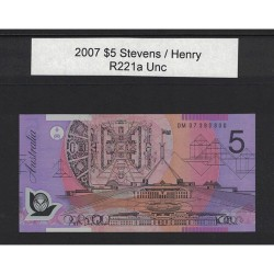 2007 $5 R221a Stevens / Henry General Prefix Uncirculated Polymer Australian Banknote