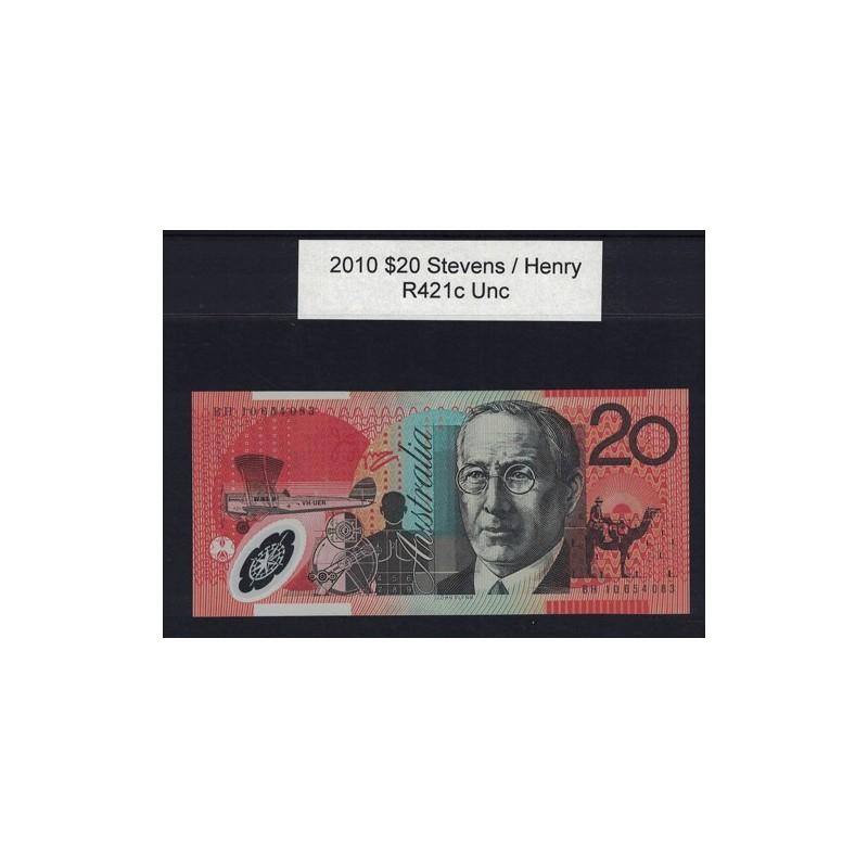 2010 $20 R421c Stevens  / Henry General Prefix Uncirculated Polymer Australian Banknote