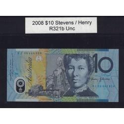 2008 $10 R321b Stevens  / Henry General Prefix Uncirculated Polymer Australian Banknote