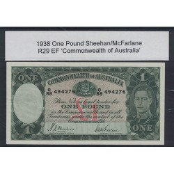 1938 One Pound R29 Sheehan / McFarlane General Prefix EF Paper Australian Banknote
