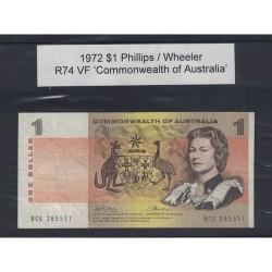 1972 $1 R74 Phillips / Wheeler General Prefix VF Paper Australian Banknote
