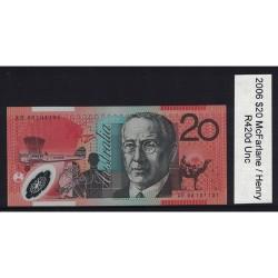 2006 $20 R420d McFalrane  / Henry General Prefix Uncirculated Polymer Australian Banknote