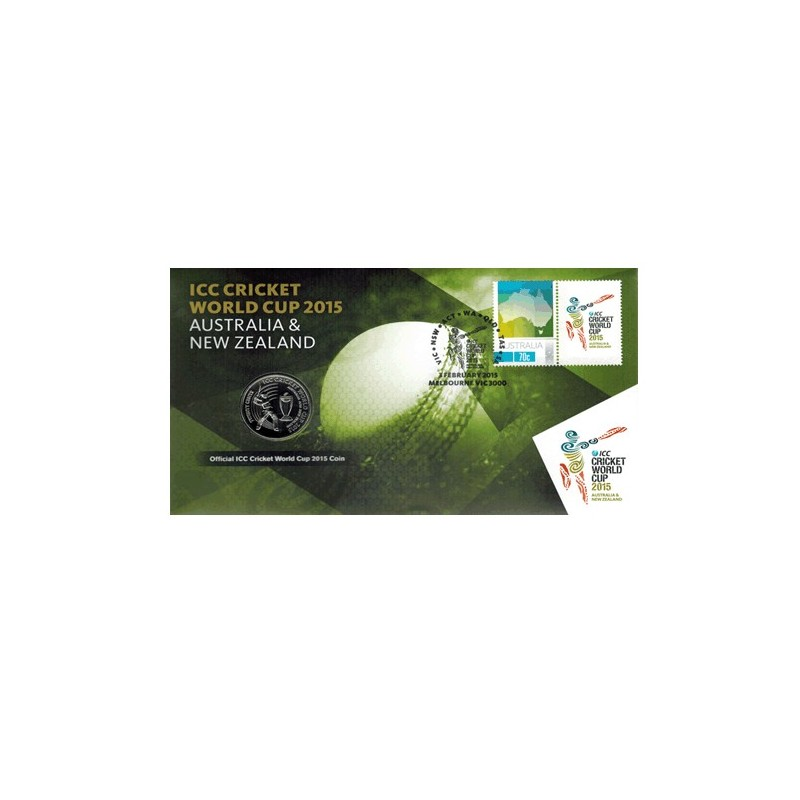 2015 20c ICC Cricket World Cup Australia & New Zealand Coin & Stamp Cover PNC