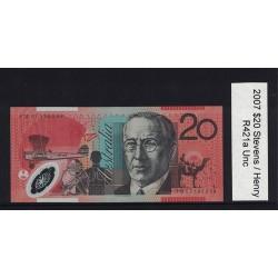 2007 $20 R421a Stevens  / Henry General Prefix Uncirculated Polymer Australian Banknote