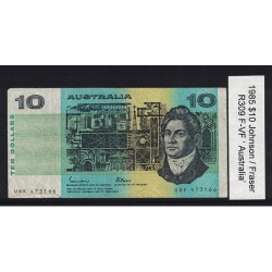 1985 $10 R309 Johnson / Fraser General Prefix F-VF Paper Australian Banknote