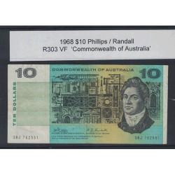 1968 $10 R303 Phillips / Randall General Prefix VF Paper Australian Banknote