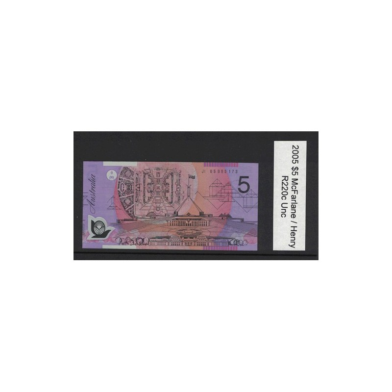 2005 $5 R220c Macfarlane / Henry General Prefix Uncirculated Polymer Australian Banknote
