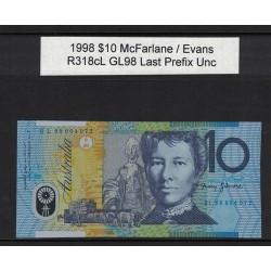 1998 $10 R318cL McFarlane  / Evans GL98 Last Prefix Uncirculated Polymer Australian Banknote