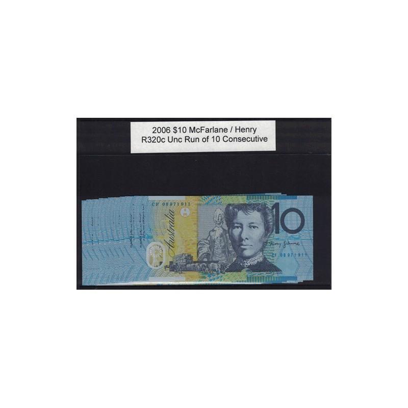 2006 $10 R320c McFarlane  / Henry General Prefix Consecutive Run of 10 Uncirculated Polymer Australian Banknote